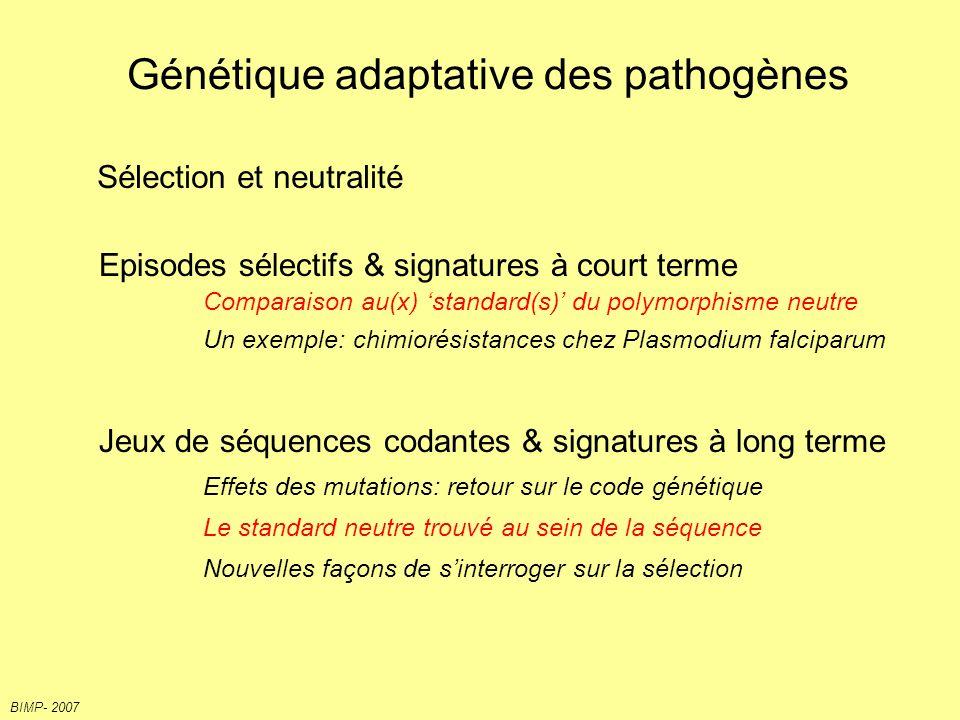 1 Sélection purifiante contraintes Sélection positive Choisy et al.