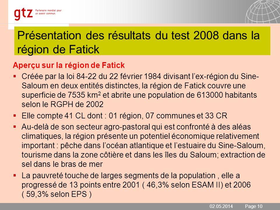 02.05.2014 Seite 10 Page 10 Présentation des résultats du test 2008 dans la région de Fatick Aperçu sur la région de Fatick Créée par la loi 84-22 du