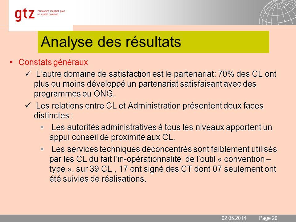 02.05.2014 Seite 20 Page 20 Analyse des résultats Constats généraux Lautre domaine de satisfaction est le partenariat: 70% des CL ont plus ou moins dé