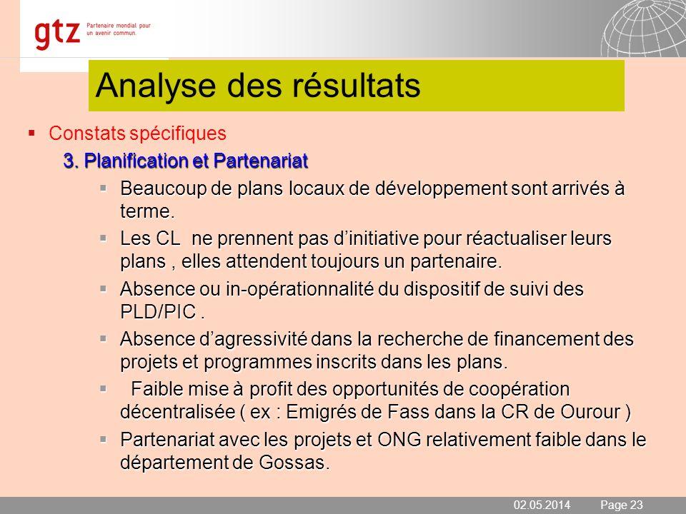 02.05.2014 Seite 23 Page 23 Analyse des résultats Constats spécifiques 3. Planification et Partenariat Beaucoup de plans locaux de développement sont