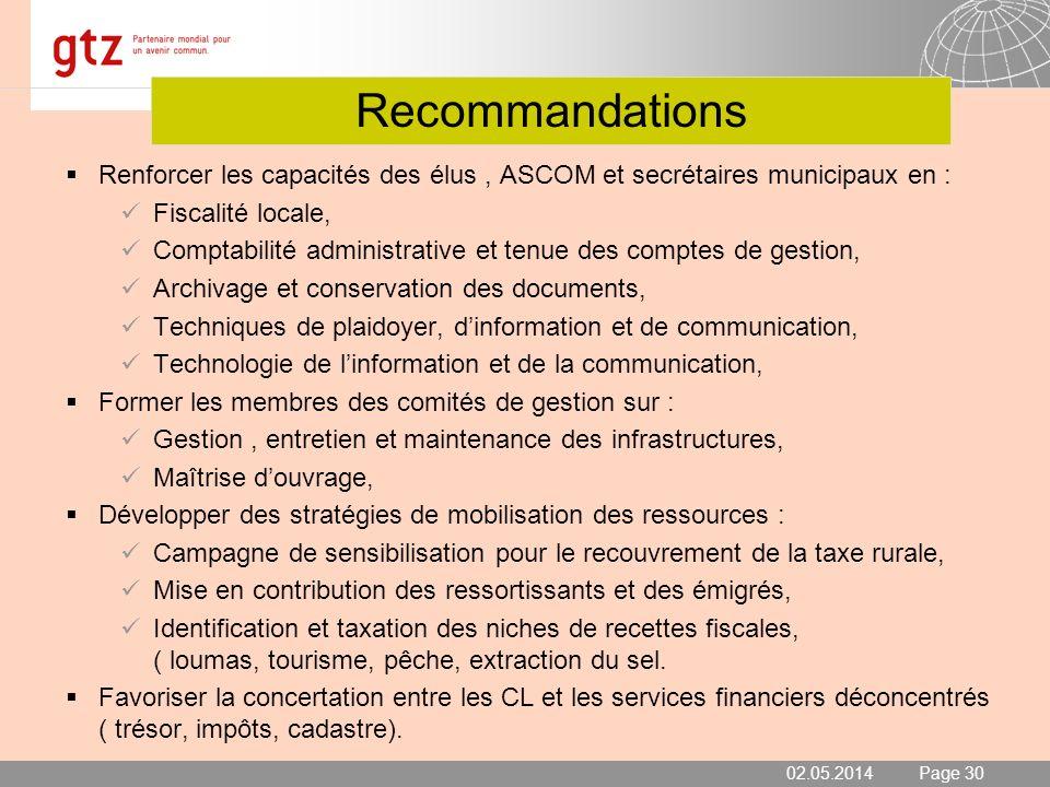02.05.2014 Seite 30 Page 30 Recommandations Renforcer les capacités des élus, ASCOM et secrétaires municipaux en : Fiscalité locale, Comptabilité admi