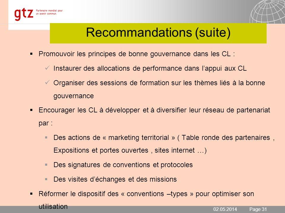 02.05.2014 Seite 31 Page 31 Recommandations (suite) Promouvoir les principes de bonne gouvernance dans les CL : Instaurer des allocations de performan