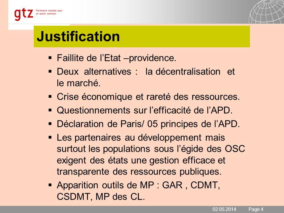 02.05.2014 Seite 4 Page 4 Justification Faillite de lEtat –providence. Deux alternatives : la décentralisation et le marché. Crise économique et raret