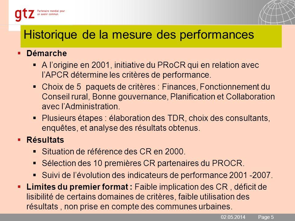 02.05.2014 Seite 5 Page 5 Historique de la mesure des performances Démarche A lorigine en 2001, initiative du PRoCR qui en relation avec lAPCR détermi
