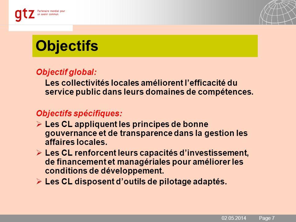 02.05.2014 Seite 7 Page 7 Objectifs Objectif global: Les collectivités locales améliorent lefficacité du service public dans leurs domaines de compéte