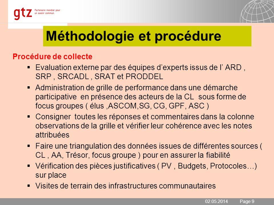 02.05.2014 Seite 9 Page 9 Méthodologie et procédure Procédure de collecte Evaluation externe par des équipes dexperts issus de l ARD, SRP, SRCADL, SRA