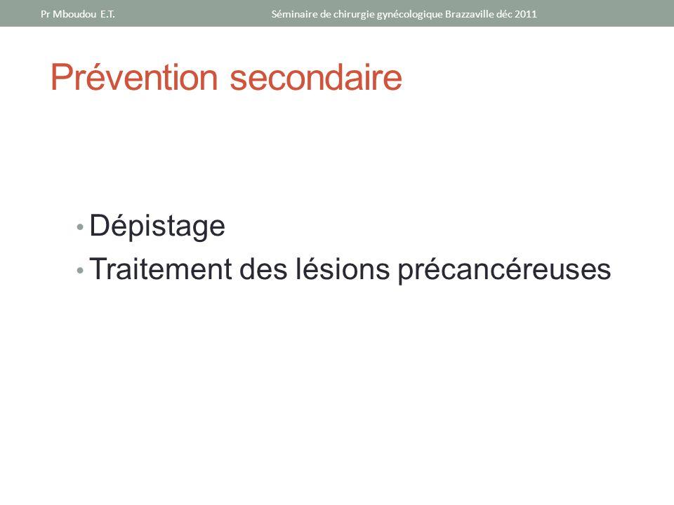 Prévention secondaire Dépistage Traitement des lésions précancéreuses Séminaire de chirurgie gynécologique Brazzaville déc 2011Pr Mboudou E.T.