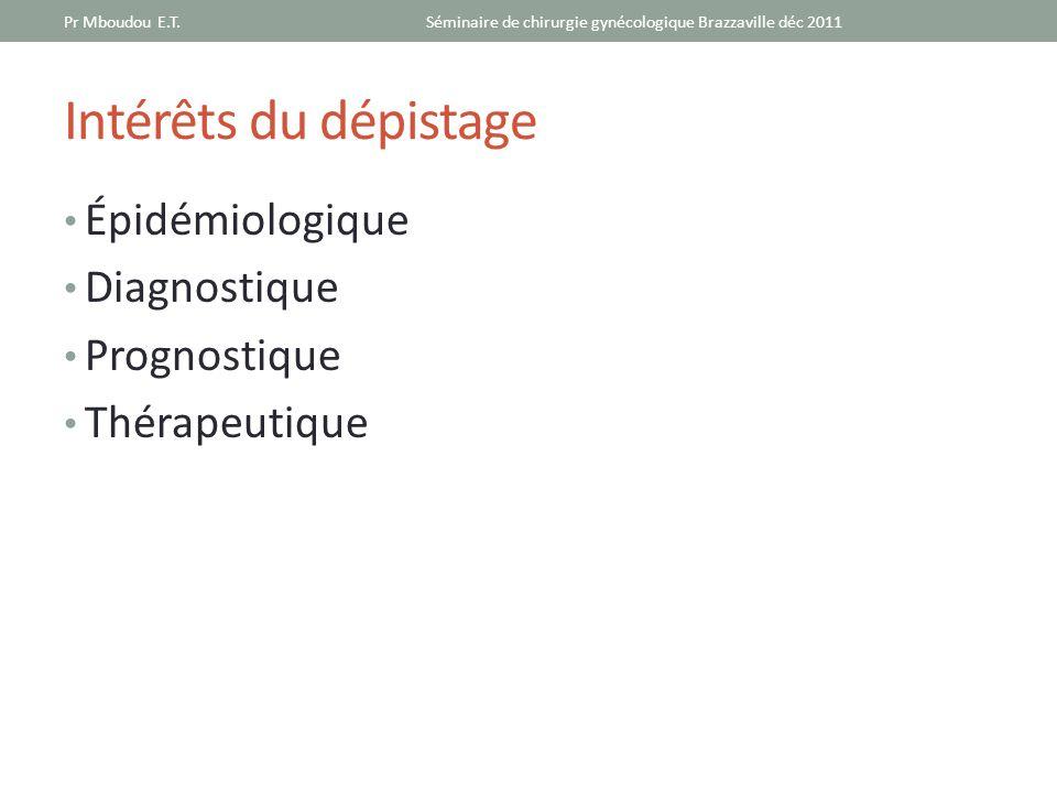 Intérêts du dépistage Épidémiologique Diagnostique Prognostique Thérapeutique Séminaire de chirurgie gynécologique Brazzaville déc 2011Pr Mboudou E.T.