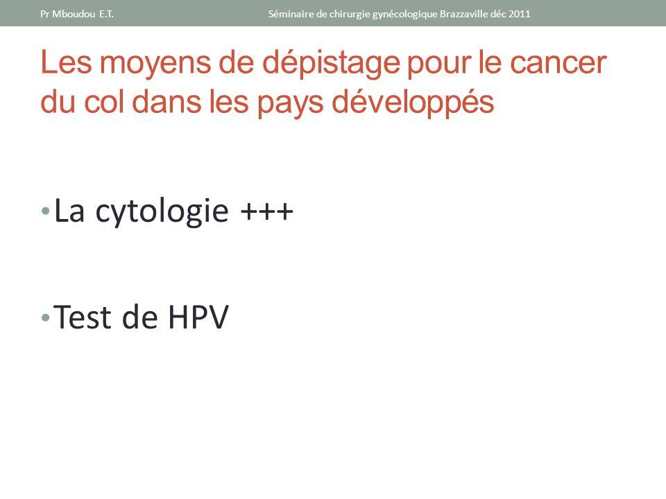 Les moyens de dépistage pour le cancer du col dans les pays développés La cytologie +++ Test de HPV Séminaire de chirurgie gynécologique Brazzaville d