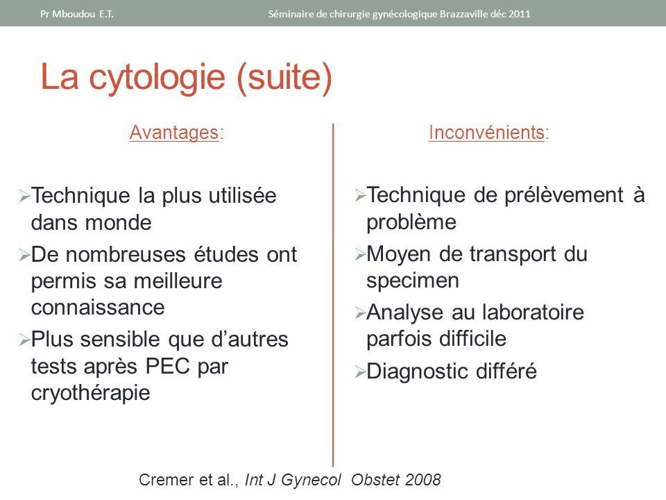 La cytologie (suite) Avantages: Technique la plus utilisée dans monde De nombreuses études ont permis sa meilleure connaissance Plus sensible que daut
