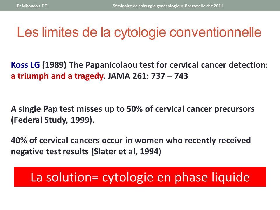 Les limites de la cytologie conventionnelle Pr Mboudou E.T.Séminaire de chirurgie gynécologique Brazzaville déc 2011 Koss LG (1989) The Papanicolaou t