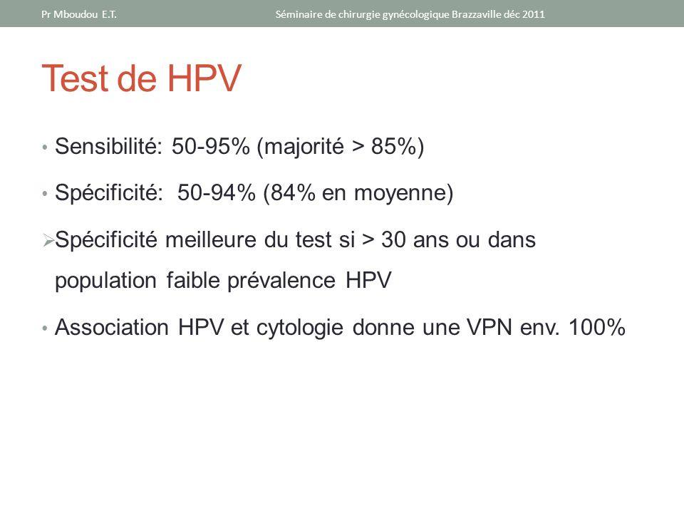 Test de HPV Sensibilité: 50-95% (majorité > 85%) Spécificité: 50-94% (84% en moyenne) Spécificité meilleure du test si > 30 ans ou dans population fai