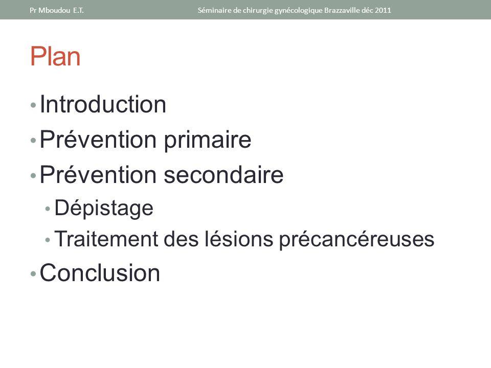 Plan Introduction Prévention primaire Prévention secondaire Dépistage Traitement des lésions précancéreuses Conclusion Séminaire de chirurgie gynécolo