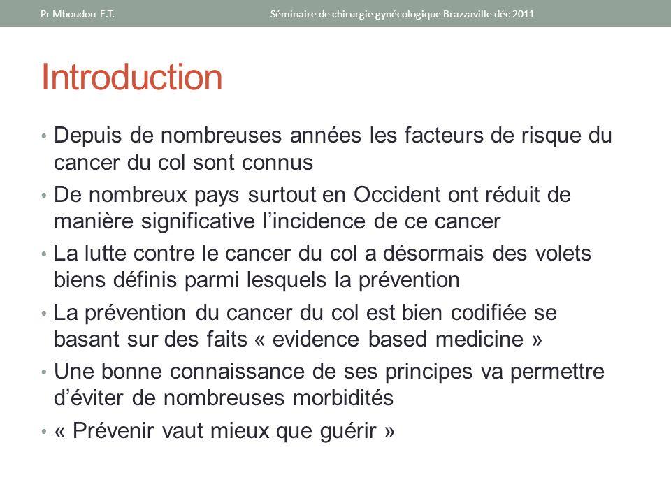 Introduction Depuis de nombreuses années les facteurs de risque du cancer du col sont connus De nombreux pays surtout en Occident ont réduit de manièr