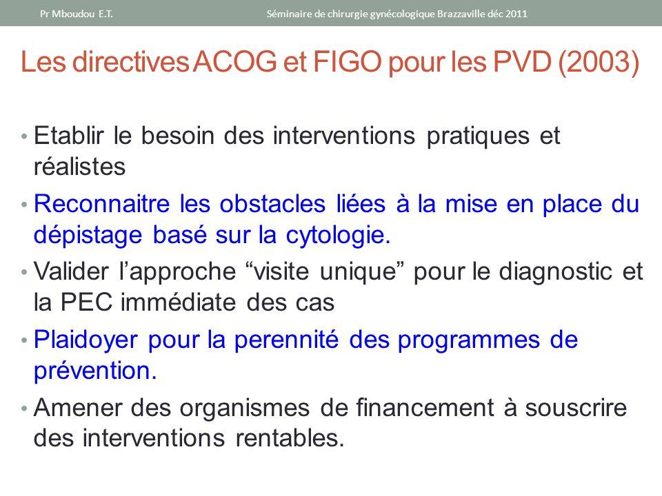 Les directives ACOG et FIGO pour les PVD (2003) Etablir le besoin des interventions pratiques et réalistes Reconnaitre les obstacles liées à la mise e