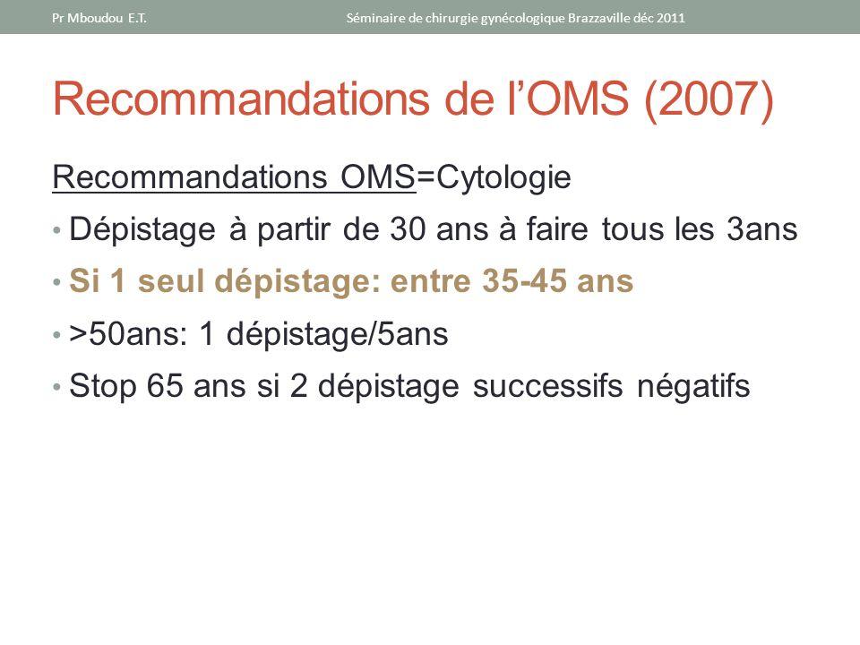 Recommandations de lOMS (2007) Recommandations OMS=Cytologie Dépistage à partir de 30 ans à faire tous les 3ans Si 1 seul dépistage: entre 35-45 ans >