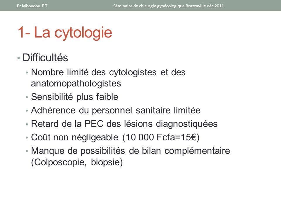 1- La cytologie Difficultés Nombre limité des cytologistes et des anatomopathologistes Sensibilité plus faible Adhérence du personnel sanitaire limité