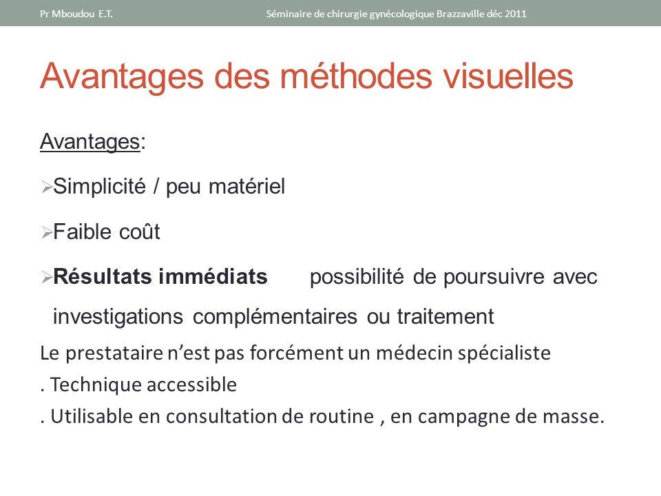 Avantages des méthodes visuelles Avantages: Simplicité / peu matériel Faible coût Résultats immédiats possibilité de poursuivre avec investigations co