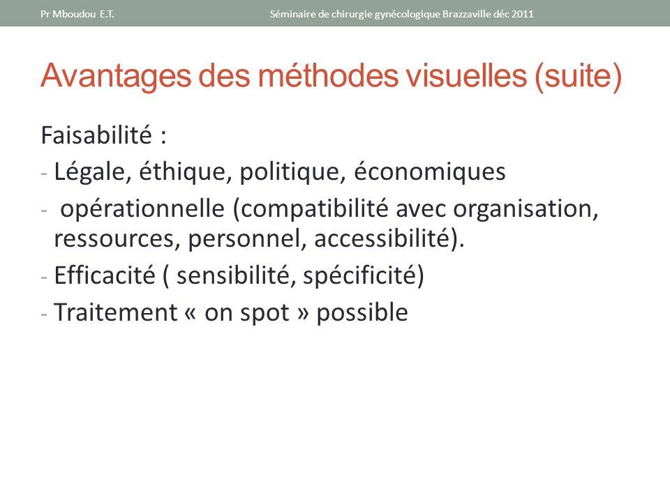 Avantages des méthodes visuelles (suite) Faisabilité : - Légale, éthique, politique, économiques - opérationnelle (compatibilité avec organisation, re