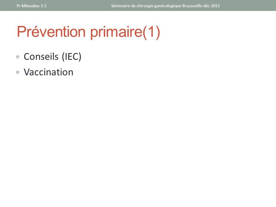 Prévention primaire(1) Conseils (IEC) Vaccination Séminaire de chirurgie gynécologique Brazzaville déc 2011Pr Mboudou E.T.