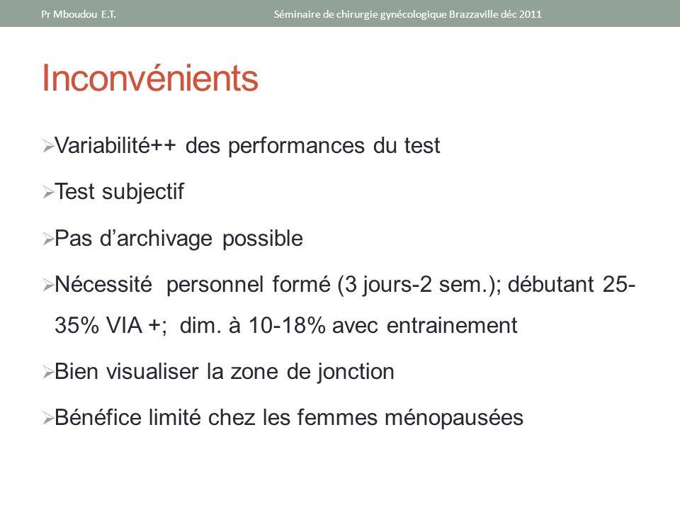 Inconvénients Variabilité++ des performances du test Test subjectif Pas darchivage possible Nécessité personnel formé (3 jours-2 sem.); débutant 25- 3