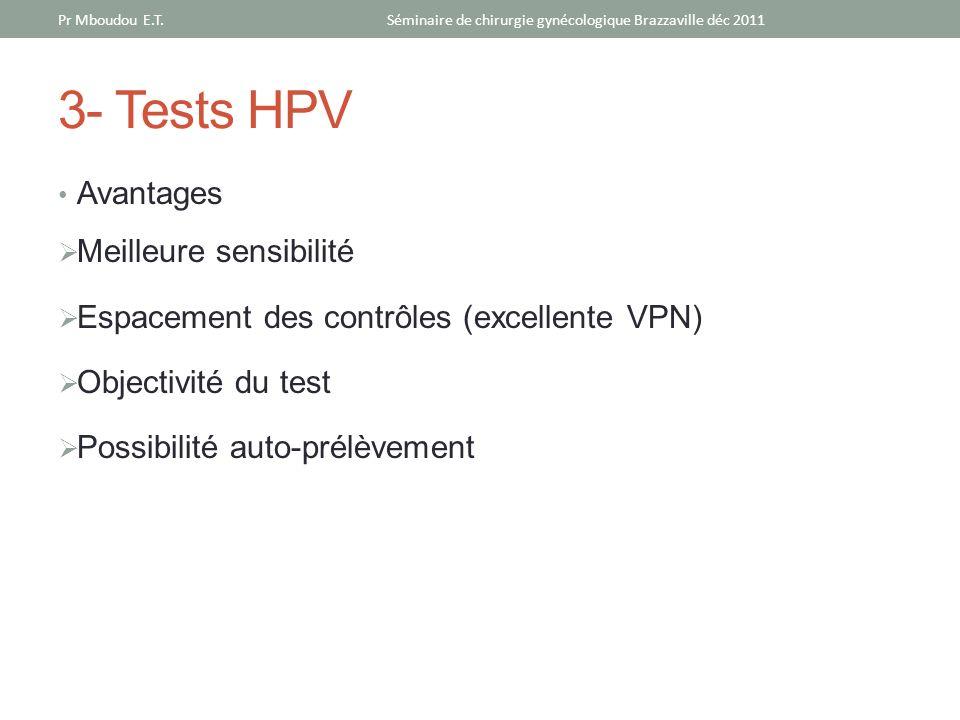3- Tests HPV Avantages Meilleure sensibilité Espacement des contrôles (excellente VPN) Objectivité du test Possibilité auto-prélèvement Séminaire de c
