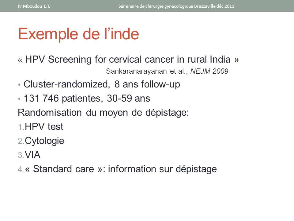 Exemple de linde « HPV Screening for cervical cancer in rural India » Sankaranarayanan et al., NEJM 2009 Cluster-randomized, 8 ans follow-up 131 746 p