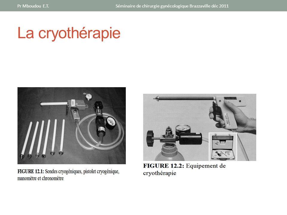 La cryothérapie Séminaire de chirurgie gynécologique Brazzaville déc 2011Pr Mboudou E.T.