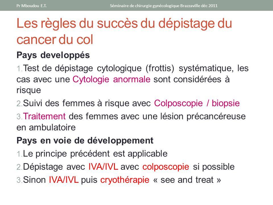 Les règles du succès du dépistage du cancer du col Pays developpés 1. Test de dépistage cytologique (frottis) systématique, les cas avec une Cytologie