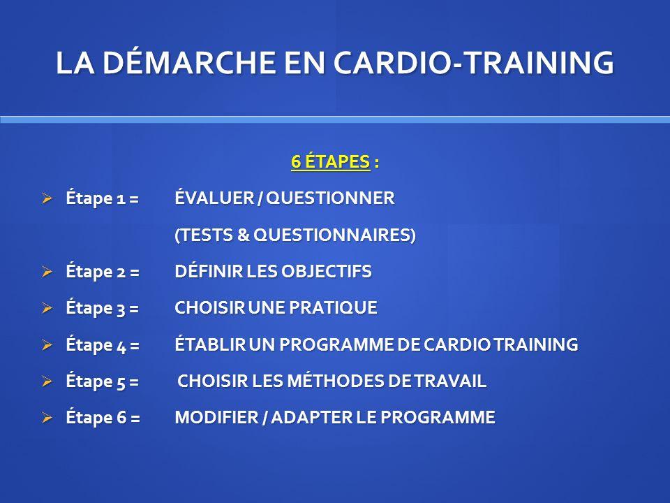 LA DÉMARCHE EN CARDIO-TRAINING 6 ÉTAPES : Étape 1 = ÉVALUER / QUESTIONNER Étape 1 = ÉVALUER / QUESTIONNER (TESTS & QUESTIONNAIRES) Étape 2 = DÉFINIR L