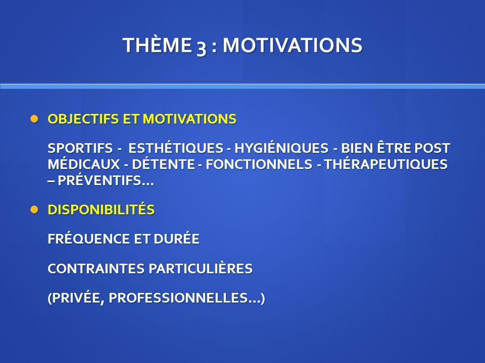 THÈME 3 : MOTIVATIONS OBJECTIFS ET MOTIVATIONS OBJECTIFS ET MOTIVATIONS SPORTIFS - ESTHÉTIQUES - HYGIÉNIQUES - BIEN ÊTRE POST MÉDICAUX - DÉTENTE - FON