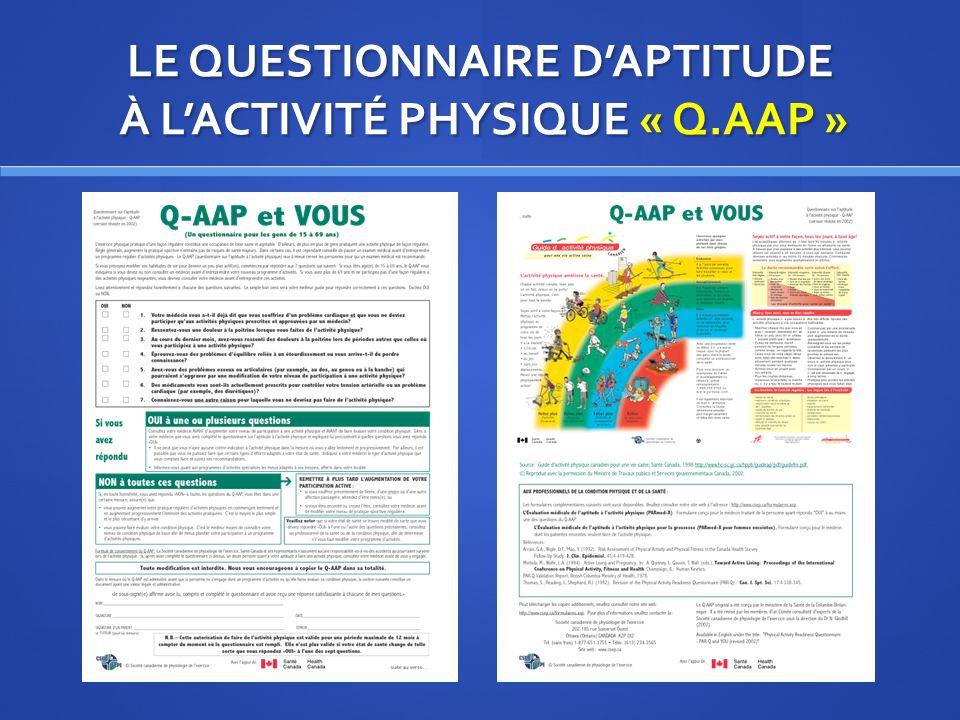 LE QUESTIONNAIRE DAPTITUDE À LACTIVITÉ PHYSIQUE « Q.AAP »