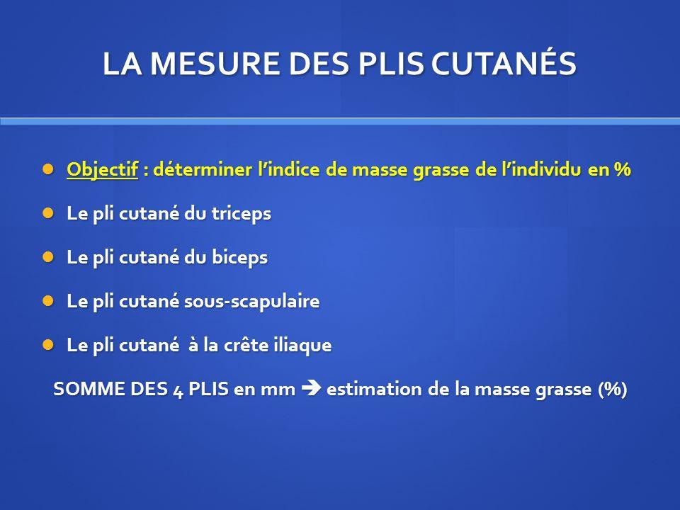 LA MESURE DES PLIS CUTANÉS Objectif : déterminer lindice de masse grasse de lindividu en % Objectif : déterminer lindice de masse grasse de lindividu