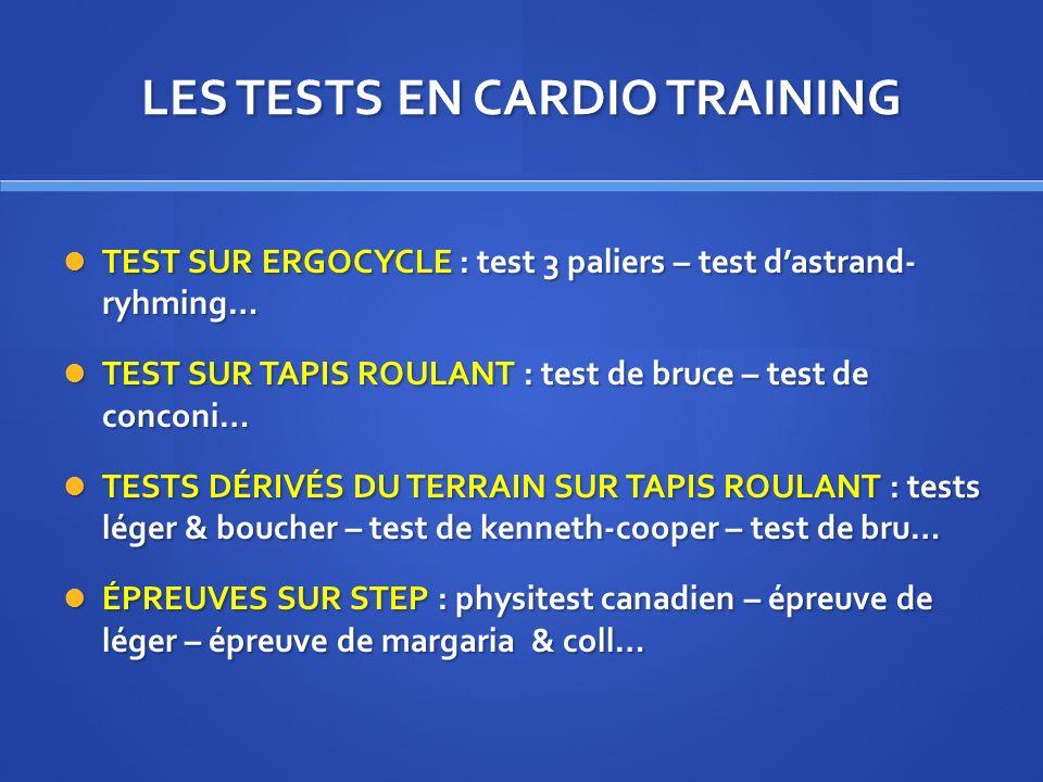 LES TESTS EN CARDIO TRAINING TEST SUR ERGOCYCLE : test 3 paliers – test dastrand- ryhming… TEST SUR ERGOCYCLE : test 3 paliers – test dastrand- ryhmin