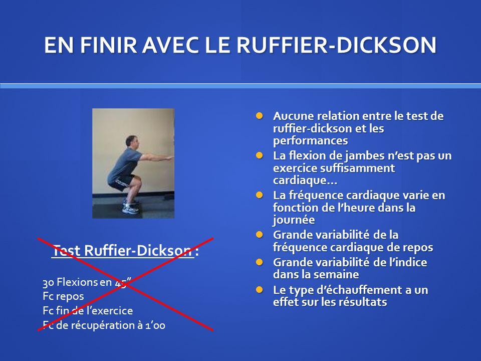 EN FINIR AVEC LE RUFFIER-DICKSON Aucune relation entre le test de ruffier-dickson et les performances La flexion de jambes nest pas un exercice suffis