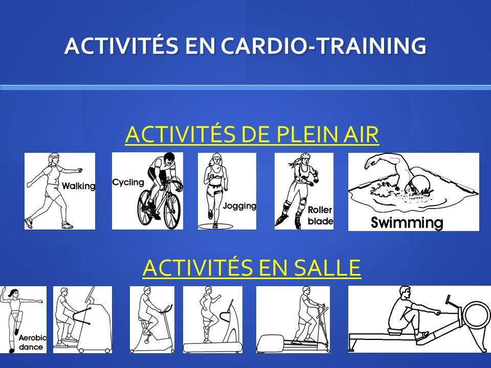 ACTIVITÉS EN CARDIO-TRAINING ACTIVITÉS DE PLEIN AIR ACTIVITÉS EN SALLE