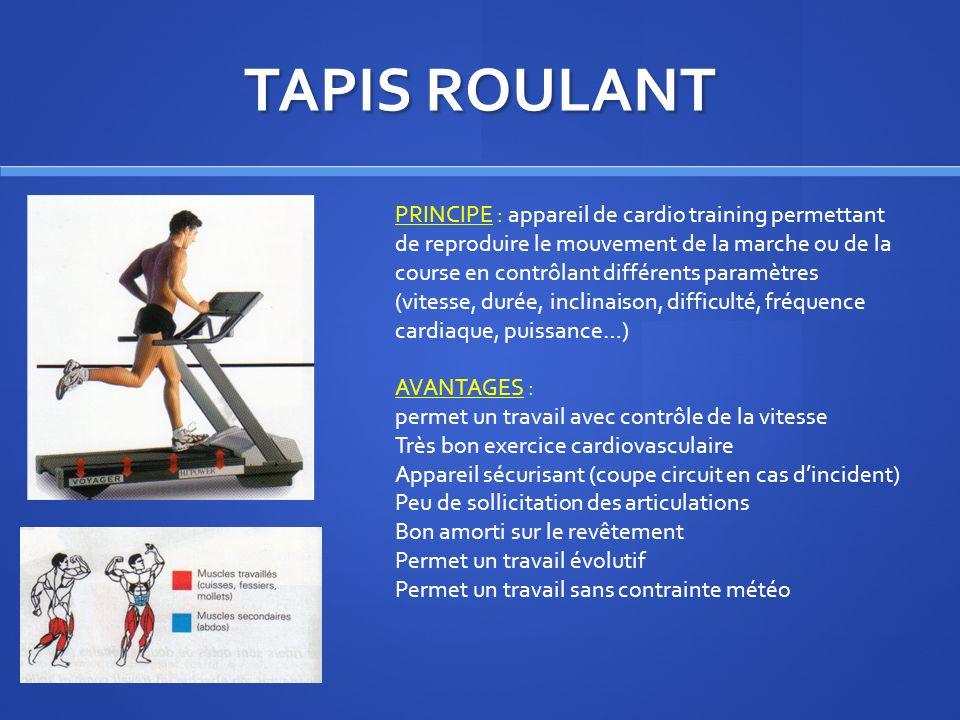 TAPIS ROULANT PRINCIPE : appareil de cardio training permettant de reproduire le mouvement de la marche ou de la course en contrôlant différents param