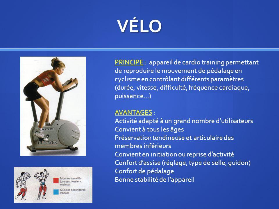 VÉLO PRINCIPE : appareil de cardio training permettant de reproduire le mouvement de pédalage en cyclisme en contrôlant différents paramètres (durée,
