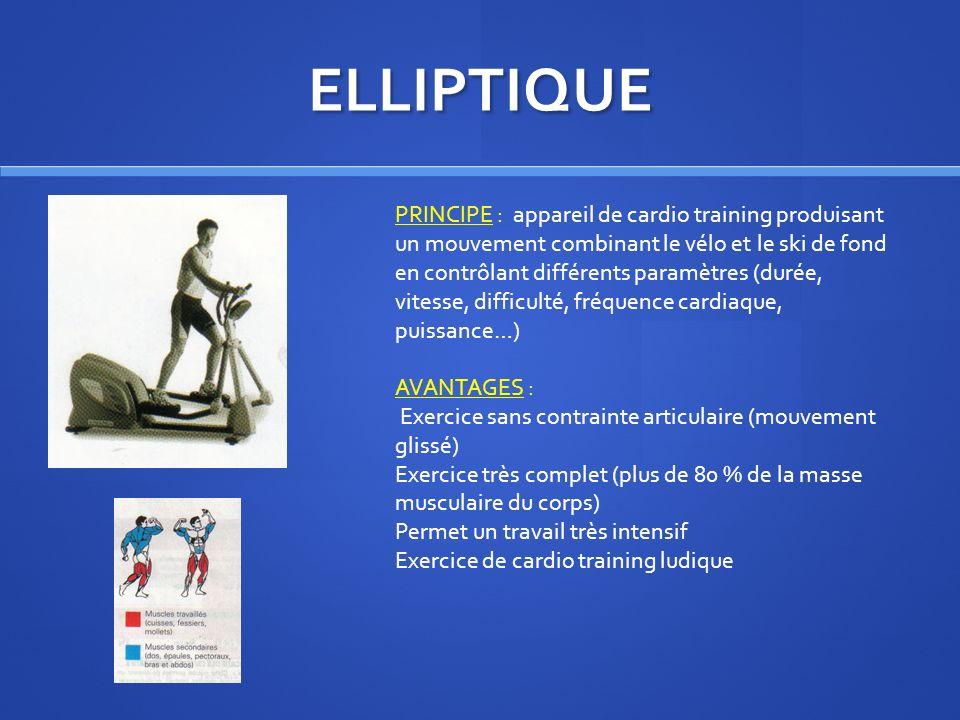ELLIPTIQUE PRINCIPE : appareil de cardio training produisant un mouvement combinant le vélo et le ski de fond en contrôlant différents paramètres (dur