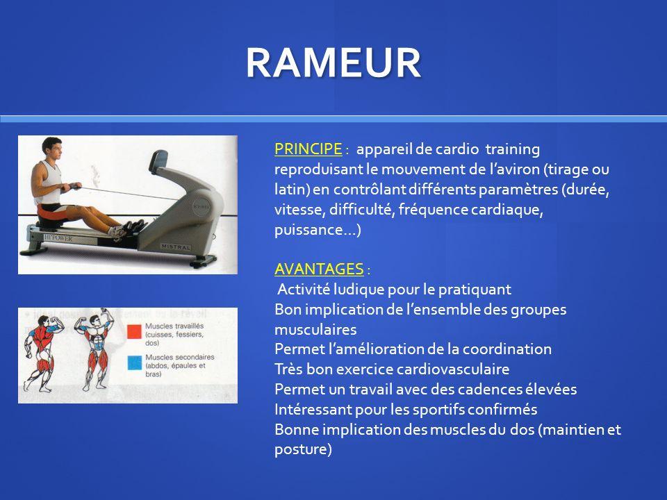 RAMEUR PRINCIPE : appareil de cardio training reproduisant le mouvement de laviron (tirage ou latin) en contrôlant différents paramètres (durée, vites