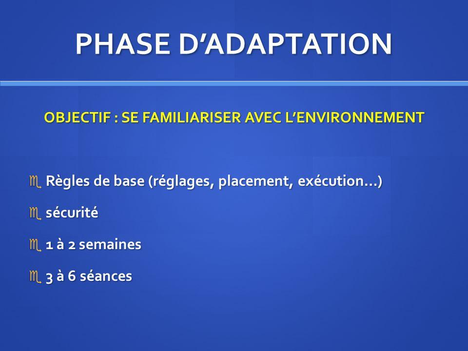 PHASE DADAPTATION OBJECTIF : SE FAMILIARISER AVEC LENVIRONNEMENT Règles de base (réglages, placement, exécution…) Règles de base (réglages, placement,