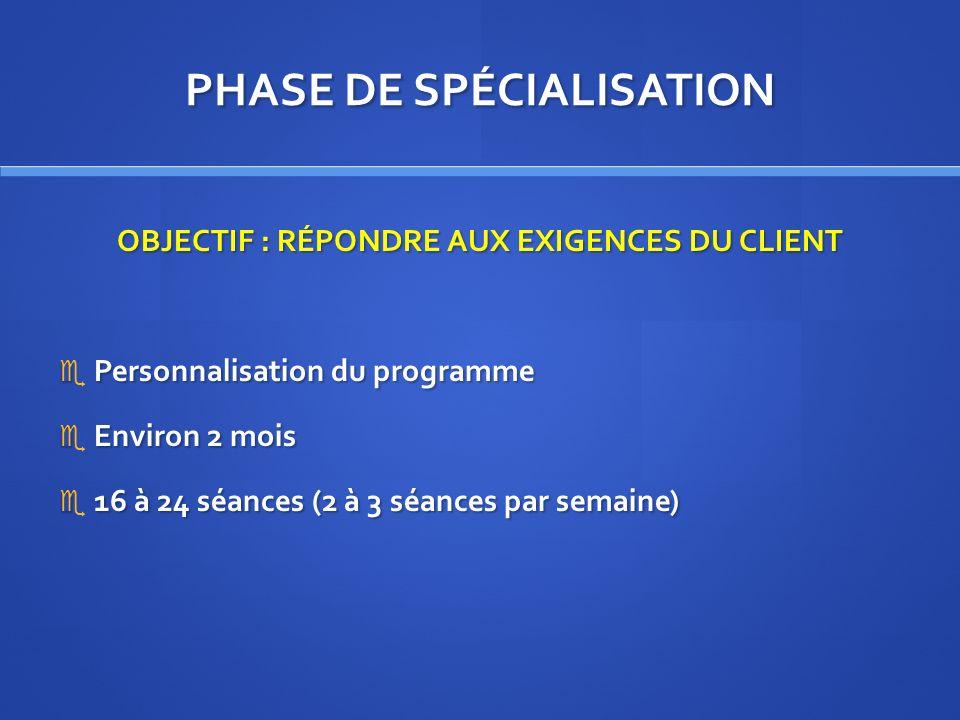 PHASE DE SPÉCIALISATION OBJECTIF : RÉPONDRE AUX EXIGENCES DU CLIENT Personnalisation du programme Personnalisation du programme Environ 2 mois Environ