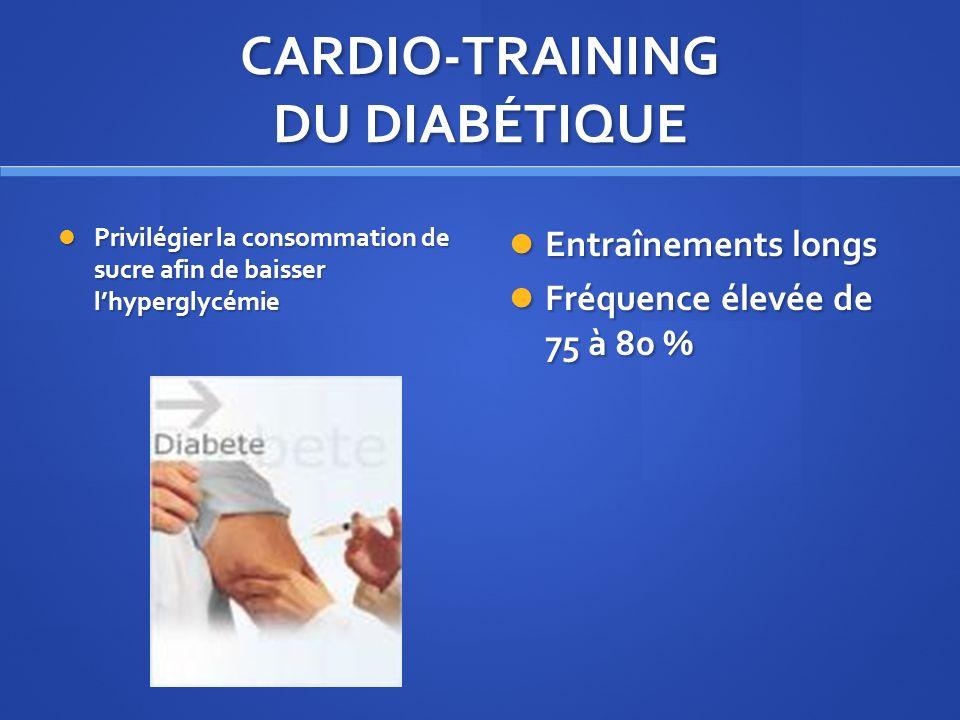 CARDIO-TRAINING DU DIABÉTIQUE Privilégier la consommation de sucre afin de baisser lhyperglycémie Privilégier la consommation de sucre afin de baisser