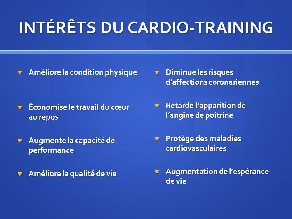 INTÉRÊTS DU CARDIO-TRAINING Améliore la condition physique Améliore la condition physique Économise le travail du cœur au repos Économise le travail d