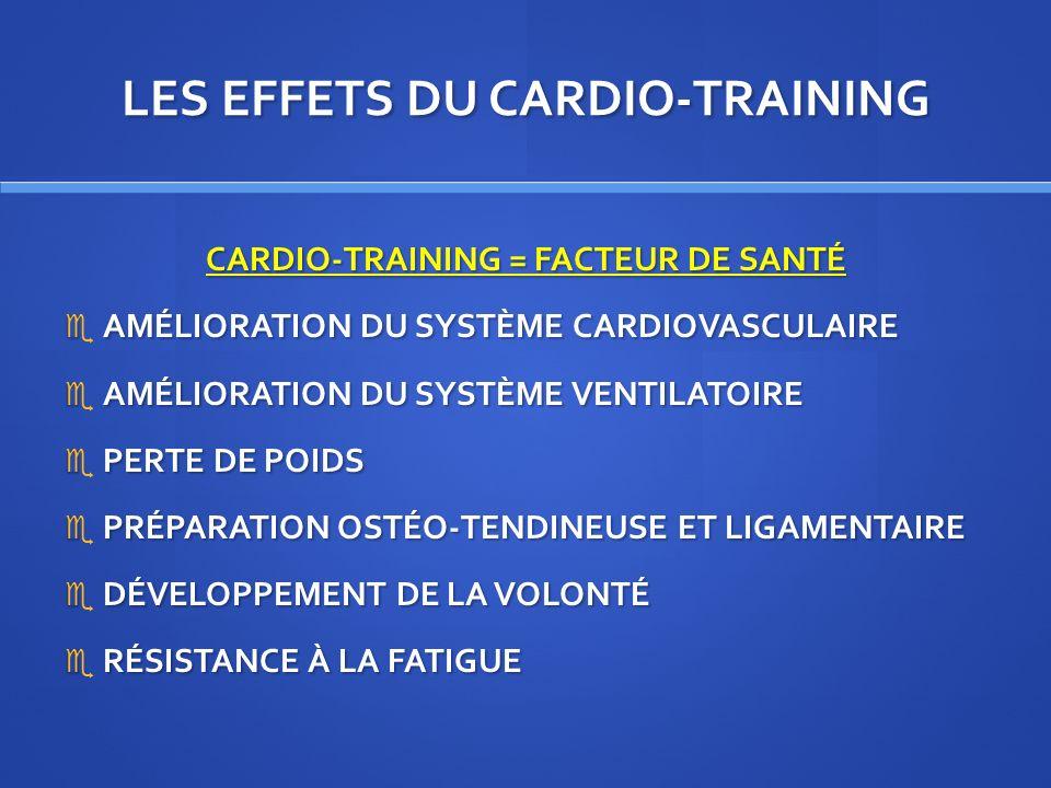 LES EFFETS DU CARDIO-TRAINING CARDIO-TRAINING = FACTEUR DE SANTÉ AMÉLIORATION DU SYSTÈME CARDIOVASCULAIRE AMÉLIORATION DU SYSTÈME CARDIOVASCULAIRE AMÉ