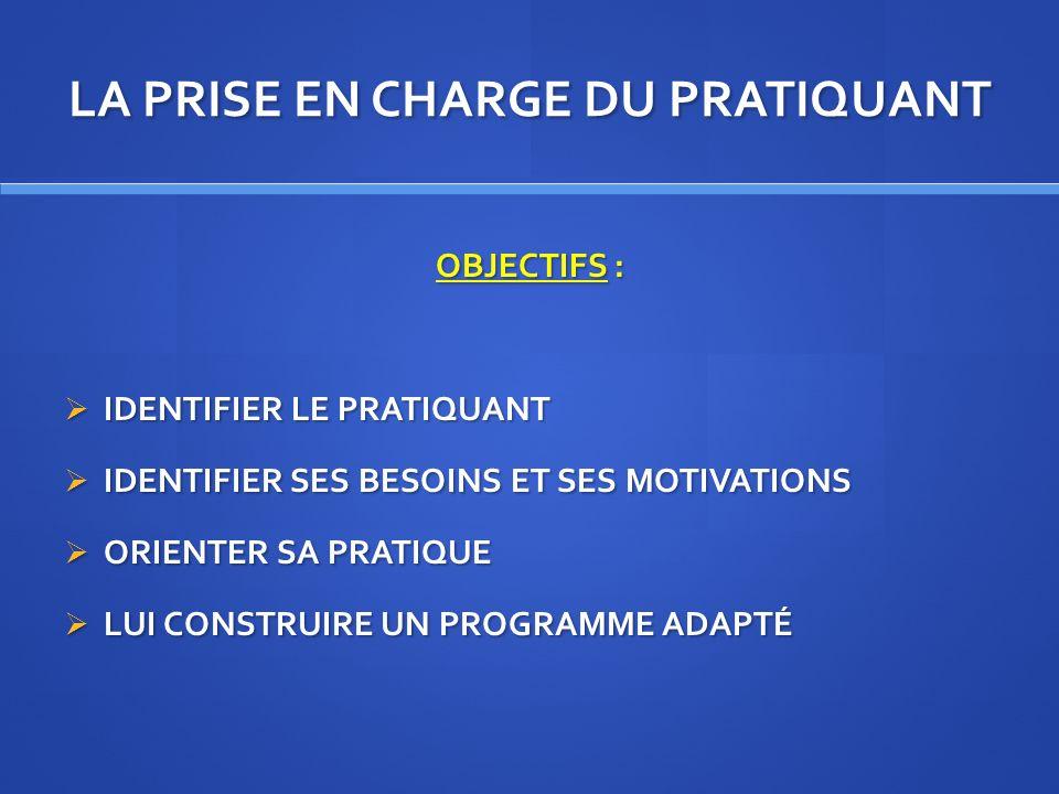 LA PRISE EN CHARGE DU PRATIQUANT OBJECTIFS : IDENTIFIER LE PRATIQUANT IDENTIFIER LE PRATIQUANT IDENTIFIER SES BESOINS ET SES MOTIVATIONS IDENTIFIER SE