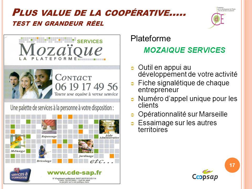 P LUS VALUE DE LA COOPÉRATIVE …..