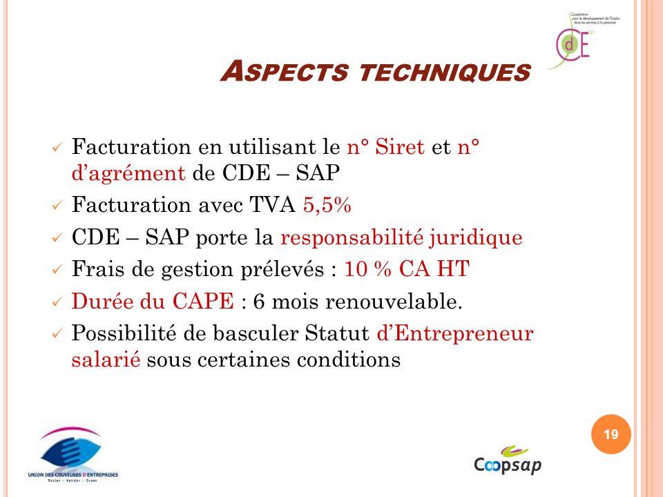 A SPECTS TECHNIQUES Facturation en utilisant le n° Siret et n° dagrément de CDE – SAP Facturation avec TVA 5,5% CDE – SAP porte la responsabilité juridique Frais de gestion prélevés : 10 % CA HT Durée du CAPE : 6 mois renouvelable.