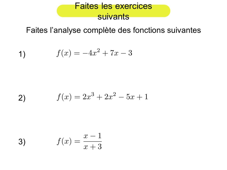 Faites les exercices suivants Faites lanalyse complète des fonctions suivantes 1) 2) 3)