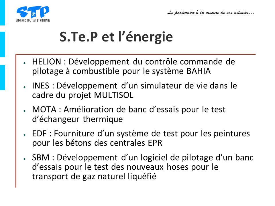 Le partenaire à la mesure de vos attentes… S.Te.P et lénergie HELION : Développement du contrôle commande de pilotage à combustible pour le système BAHIA INES : Développement dun simulateur de vie dans le cadre du projet MULTISOL MOTA : Amélioration de banc dessais pour le test déchangeur thermique EDF : Fourniture dun système de test pour les peintures pour les bétons des centrales EPR SBM : Développement dun logiciel de pilotage dun banc dessais pour le test des nouveaux hoses pour le transport de gaz naturel liquéfié